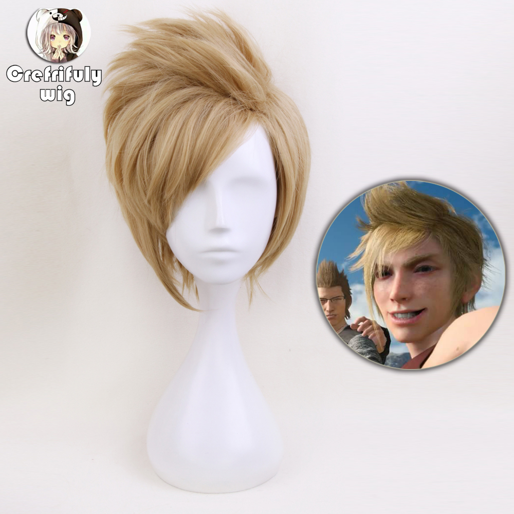 Anime 12inch Short Fluffy Layered Men's Blonde Synthetic Wig FF15 <font><b>Final</b></font> <font><b>Fantasy</b></font> <font><b>XV</b></font> <font><b>Prompto</b></font> Argentum <font><b>Cosplay</b></font> Wig image