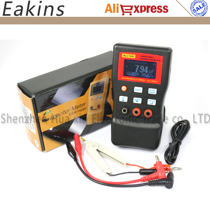 Free shipping MLC500 AutoRanging LC Meter inductor and capacitor Meter 1% accuracy 500KHz test Connect PC storing + SMD Clip lc 1 pc 1838