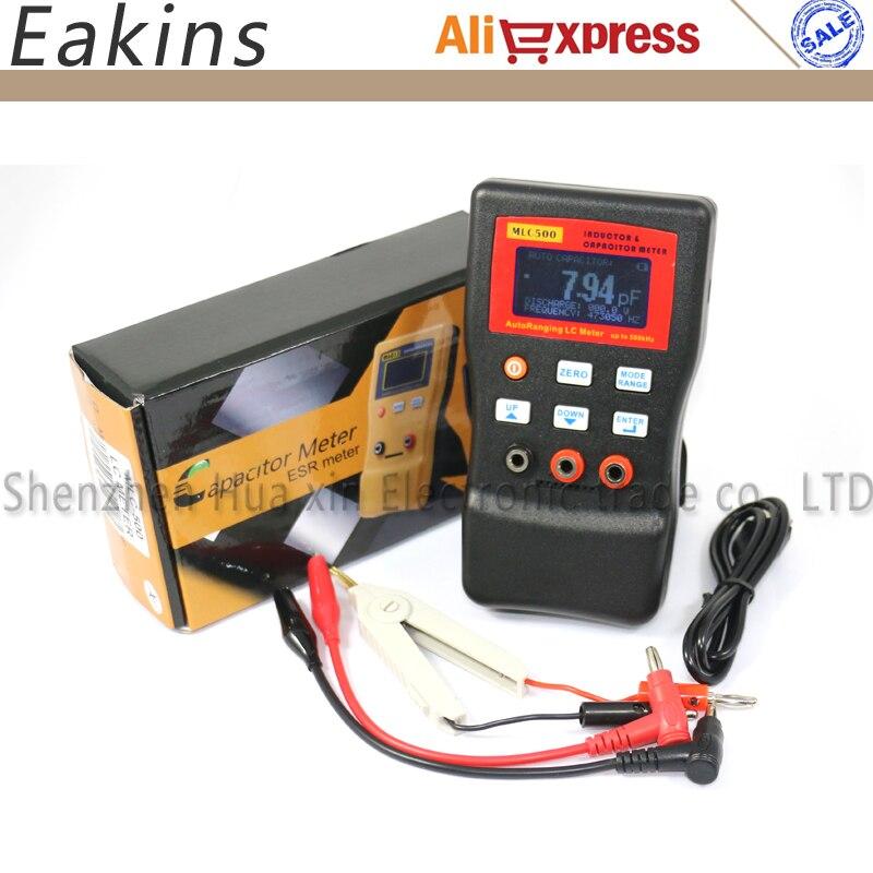 Livraison gratuite MLC500 AutoRanging LC mètre inducteur et condensateur compteur 1% précision 500 KHz test connecter PC stockage + Clip SMD
