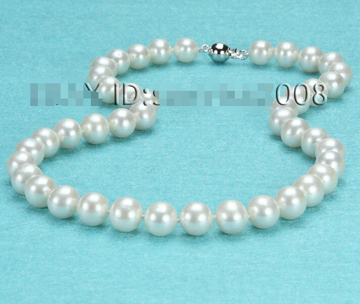 Rapide AAA + + 9-10mm blanc d'eau douce perle collier 14kt/585 solide or AAA