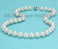 fast AAA++ 9 10mm white fresh water pearl necklace 14kt/585 solid gold AAA