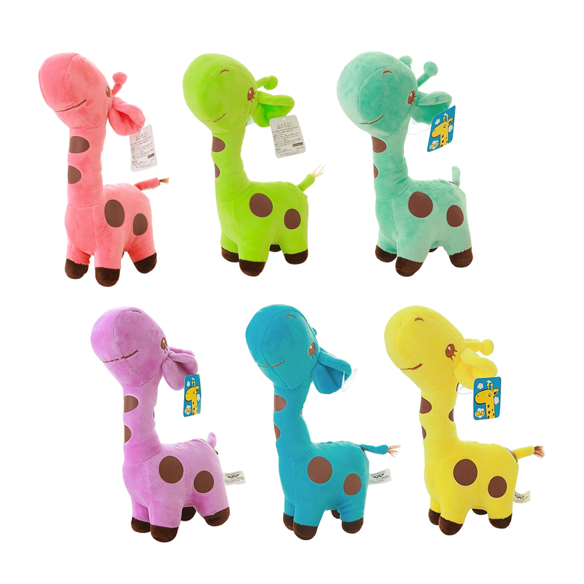 6pcs/lot 18cm Unisex Cute Gift Plush Giraffe Soft Toy Animal Dear Doll Baby Kid Child  Christmas Birthday Happy Colorful Gifts 4 colors pusheen plush cute soft animal toy giraffe plush doll birthday gift toys for children 18cm baby dolls free shipping