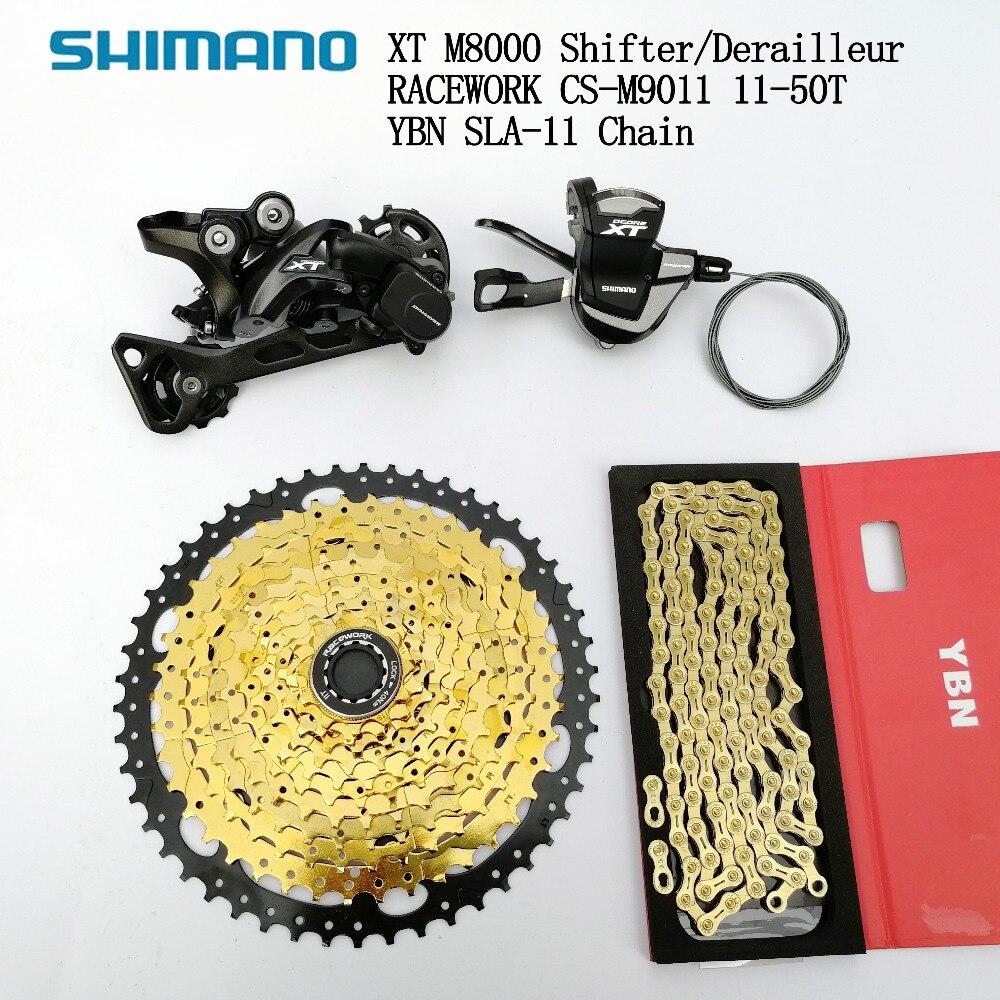 Shimano XT M8000 11 vitesses groupe vtt 11 vitesses manette de vitesse dérailleur arrière avec Racework 11-46 T 50 T Cassette et chaîne YBN Sh11