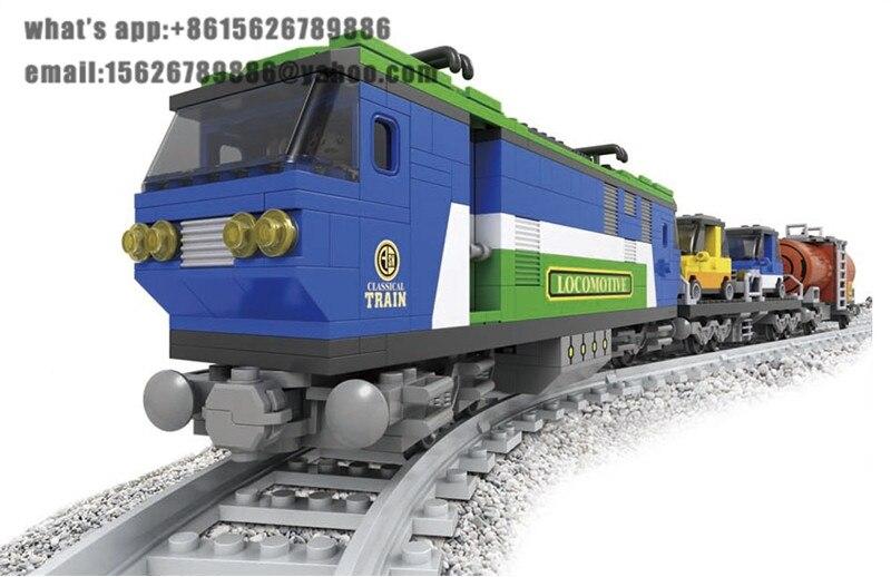 Ausini model building kits compatible with lego city train 602 3D blocks Educational model & building toys hobbies for children