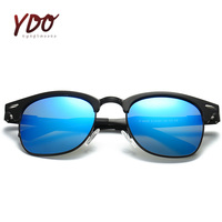 Hot New Retro Polarized Sunglasses Men Fashion Brand Design UV400 Mirror Lens Clubmaster Rivet Square Spectacles