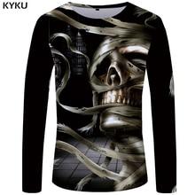 KYKU Skull Long Sleeve T Shirt Women Metal T-shirt Punk Rock Printed Tshirt Gothic 3d Anime Womens Clothing Streetwear Summer стоимость