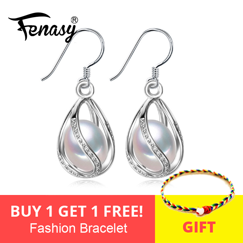FENASY Drop-Earrings Jewelry Pearl 925-Sterling-Silve Women For Casual Bohemia Charm