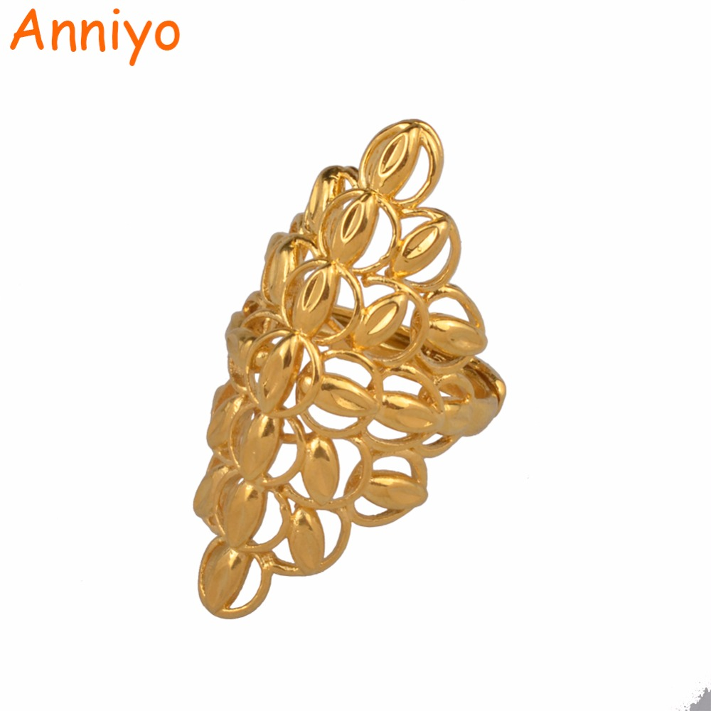 Anniyo Large Size Ring for Women,Ethiopian Gold Color Exaggerated African Wedding Ring Big Jewelry Style Gifts #089206 punk style pure color hollow out ring for women