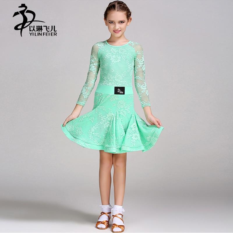 Kids Ballroom Dresses O-Collar Competition Standard Latin Costume 6 colors / Girls Ballroom Dance Dresses/Latino Dress Girl