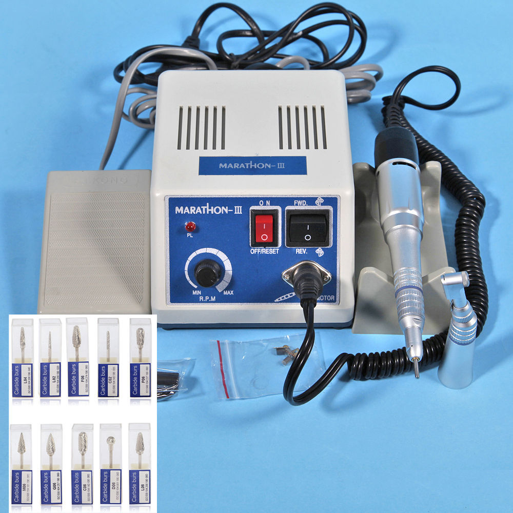 New Dental Lab MARATHON Handpiece 35K RPM Electric Micromotor Polishing + Drill Burs