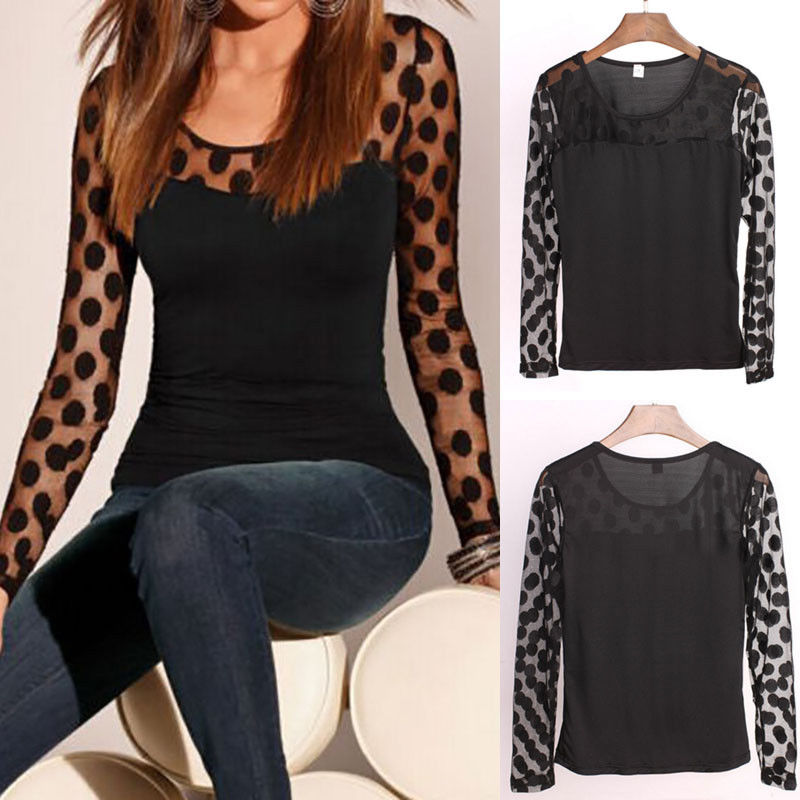 2018 New Casual Women T-Shirts Long Sleeve Dot Printed Mesh Net See Through Lace Tee Shirts Pure Black Summer Outwear