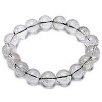 JYX Gemstone Beads Bracelet 12mm Round Green Phantom Crystal Beads Elastic Thread Bracelet 8 Charming Gift For Women