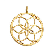 """DoreenBeads Flower of Life Alloy Seed Of Life Pendants Round gold color silver color Hollow 35mm(1 3/8"""") x 30mm(1 1/8""""), 5 PCs"""