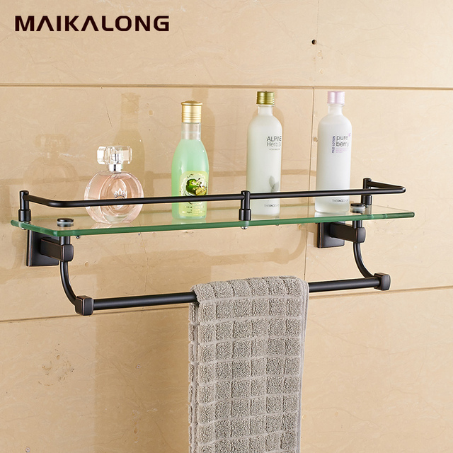 Bathroom Glass Shelf Wall Mount with Towel Bar and Rail, black oil ...