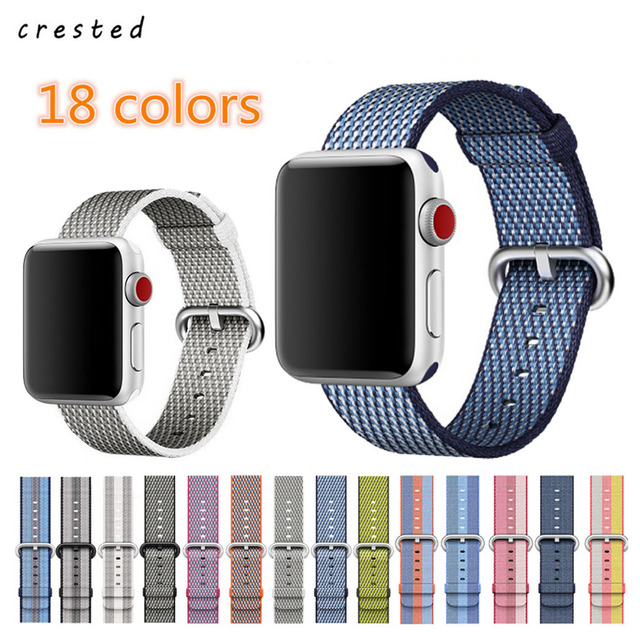 CRESTED Woven Nylon strap For Apple Watch band 42 mm 38 mm wrist bracelet watchband for apple-watch iwatch 3/2/1 watch belt