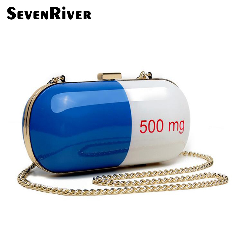 Personalized Design Pills Chain Clutch Bag Unique Party Bag Evening Chain Messenger Bags Funny Purse Handbag fancy jumping walking pills