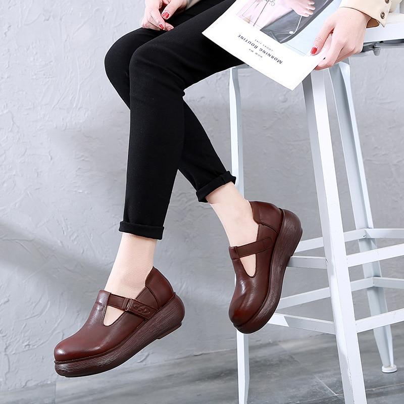 Women Leather Pumps T Strap Shoes 6 Cm High Heels Wedge Pumps Women Spring Shoes Retro 2019 Handmade Genuine Leather Women Pumps - 5