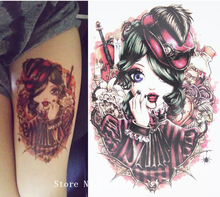 Blood Vampire Hat Girl Tattoo 21 X 15 CM Sized Sexy Cool Beauty Tattoo Waterproof Hot Temporary Tattoo Stickers