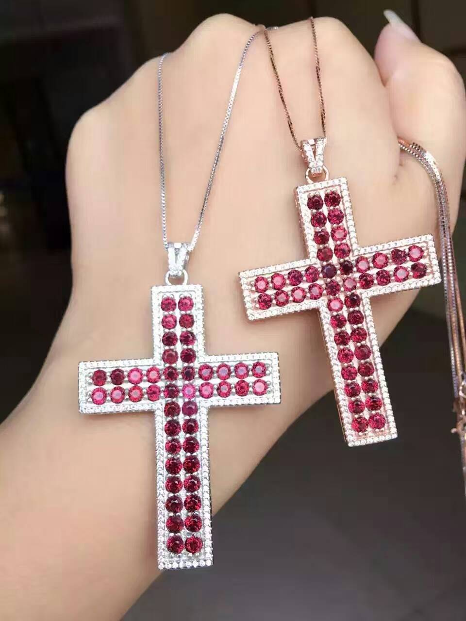 Natural red garnet gem pendant S925 silver Natural gemstone Pendant Necklace trendy Luxury big cross women party gift jewelry natural ice jade gem pendant s925 silver natural gemstone pendant necklace luxury big round flower women gift party gift jewelry