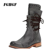 New autumn winter zipper to make old new style high heel cross lace boots female character Big yards 34-43