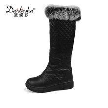 Daidiesha 2017 Лидер продаж Большие размеры 34–43 новые зимние сапоги для женщин на платформе кролик Мех без шнуровки теплые зимние женские сапоги до колена