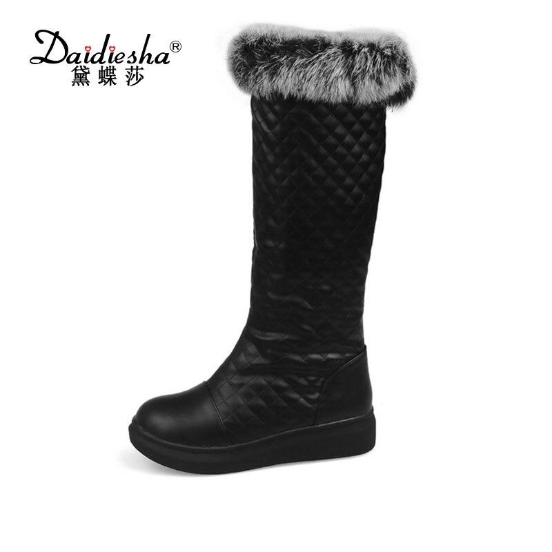 Daidiesha 2017 Hot sale Plus size 34-43 new snow boots for women platform Rabbit Fur slip on  warm winter women knee high boots