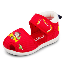 Crtartu Summer Style 1 Pair Red Sticky Embroidery Cartoon Bear+Monkey+aircraft Baby shoes