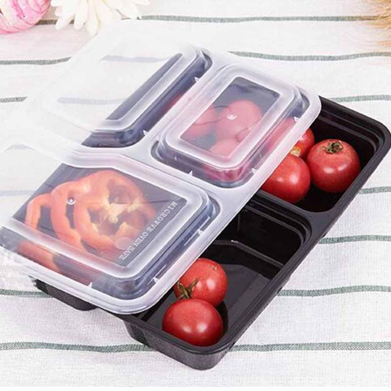 10pcs Disposable Food Container 1000Ml Black Meal Prep Picnic Food Storage Boxes Microwaveable PP Lunch Bento