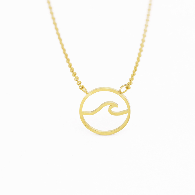 Ocean Wave Necklace Beach Nautical Surfing Jewelry Choker Fashion Jewelry Stainless Steel Chain Collares Accessaries For Women