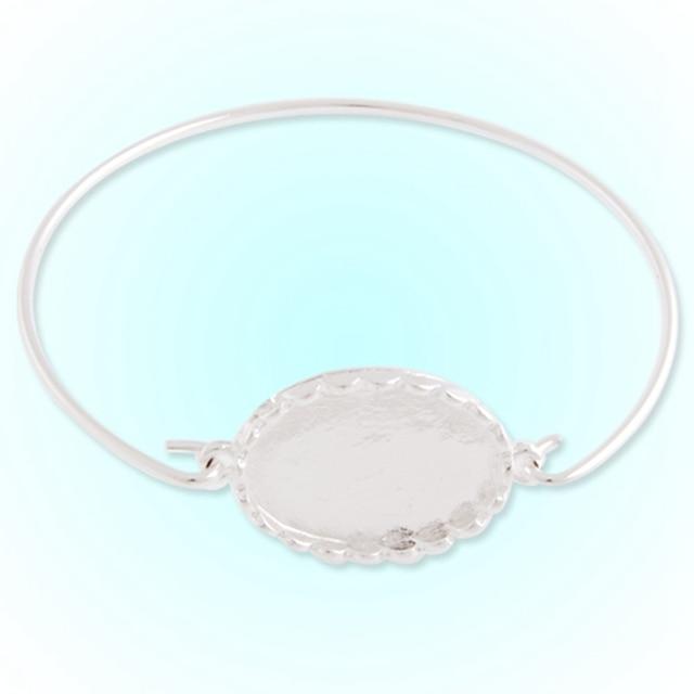 Fashion Silver Plated 25*18 mm Blank Bezel Metal Bangle Bracelet ...