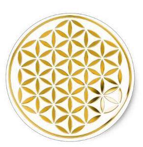 Image 1 - 1.5 pouce fleur de la vie 1 or timbre classique autocollant rond