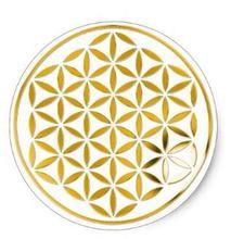 Pegatina redonda clásica de 1,5 pulgadas con estampado de flor de la vida 1   gold