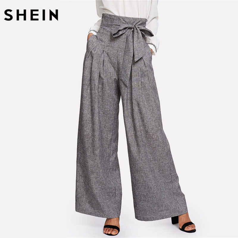 SHEIN Wide Leg Pants Women Zipper Fly Loose Trousers Women 2018 Grey High Waist Self Belted Box Pleated Palazzo Pants