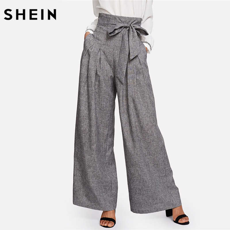 c888466855 SHEIN Wide Leg Pants Women Zipper Fly Loose Trousers Women 2018 Grey High  Waist Self Belted