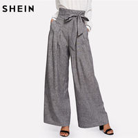 SHEIN Wide Leg Pants Women Zipper Fly Loose Trousers Women 2018 Grey High Waist Self Belted
