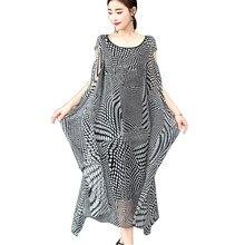79cf31b141f38 Vintage zarif ipek elbise kadın 2018 yaz gevşek artı boyutu fırfır kadınlar  için uzun maxi elbiseler siyah beyaz nokta baskı ves.