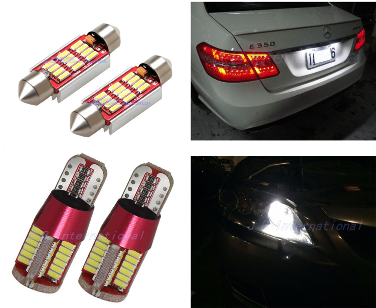4pcs xCanbus C5W W5W LED Light bulbs for AUDI A3 8L S3 1996-2003 Sportback Quattro Cabriolet license plate Position Lamp White