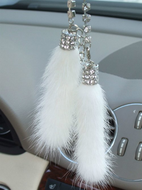 Hot Sale White Color Mink Crystal Strap Keychain Car