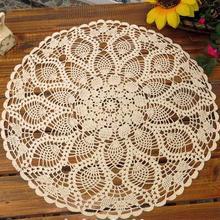 Mantel redondo Vintage de algodón de plumas blancas hecho a mano de ganchillo, mantel de boda, decoración de mesa, Mantel Individual, mantel de punto