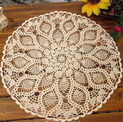 Chic Flower Hand Crochet Cotton Round Doily Beige