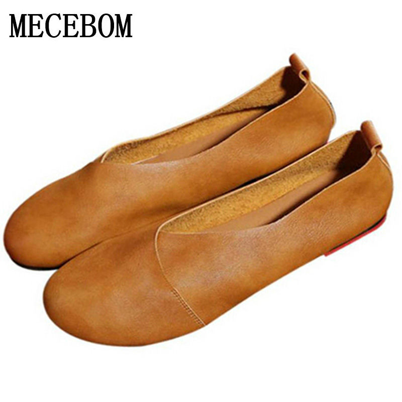 2018 Genuine Leather Flat Shoes Woman Hand Leather Loafers Cowhide Flexible Spring Casual Shoes Women Flats Women Shoes 0221W 2018 new genuine leather flat shoes woman ballet flats loafers cowhide flexible spring casual shoes women flats women shoes k726