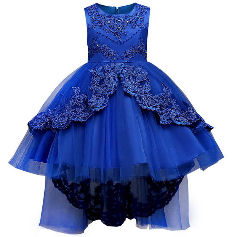 Retail High Quality Embroidery Floral Elegant Princess Party Wear   Dress   Boutiques Frock Children   Girls   Wedding   Dress   WZSP