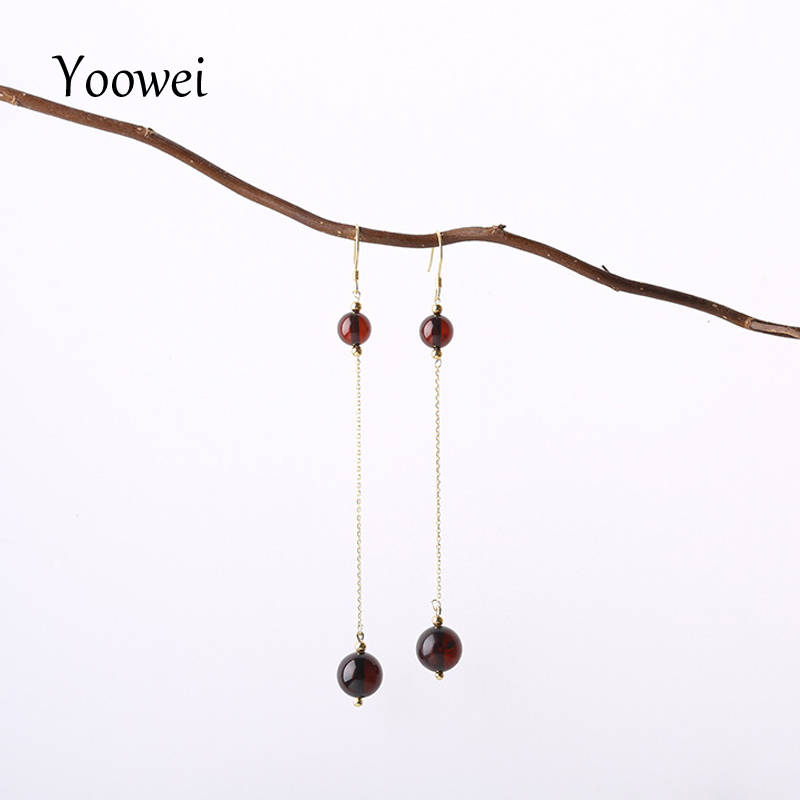 все цены на Yoowei Natural Amber Earrings for Girl Gifts Precious Cherry Round Beads Baltic Amber Jewelry Chic Simple Long Dangling Earrings
