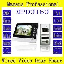 7 дюймовый цветной экран Handfree домофон детектор Движения действий с Камерой, 1V1 Видео Домофона поддержка Mic и спикер D160b