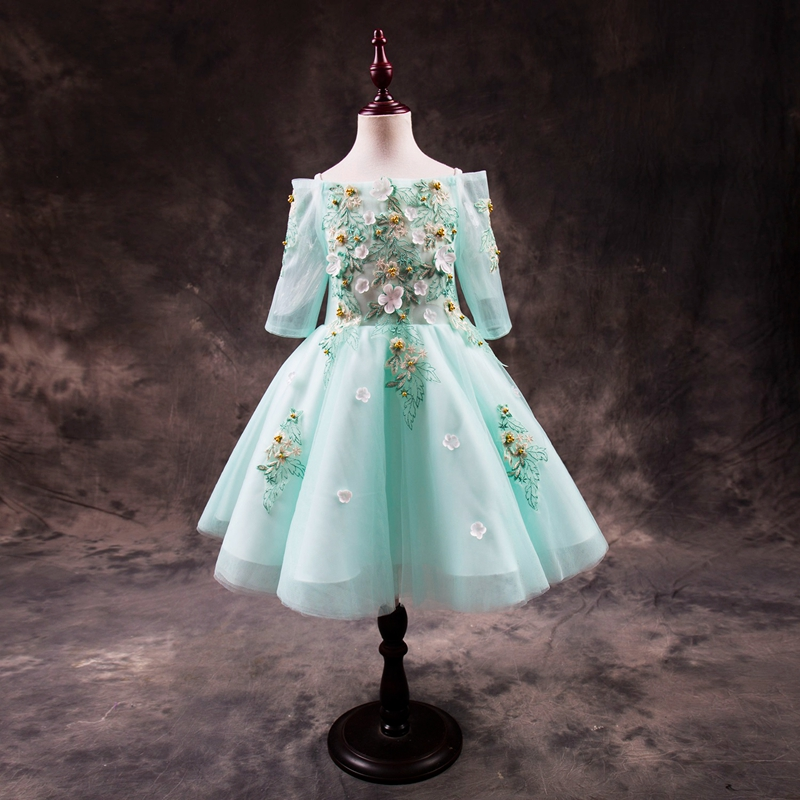New Sky Blue Girls Dresses With Printed Applique Flower Girls Dresses 2018 Custom Made Girls Dress First Communion Gown IY341 gorgeous new white lace flower girls dresses applique with sash bow girls first communion dress ball gown custom made