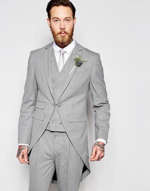 Latest Coat Pant Designs Light Grey Tailcoat Men Wedding Suits ...