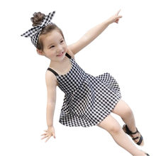 Summer Baby Girls Dress Party Wedding Princess Dresses Sleeveless Plaid Strap Kids Toddler Clothes Outfits robe vestido verano(China)