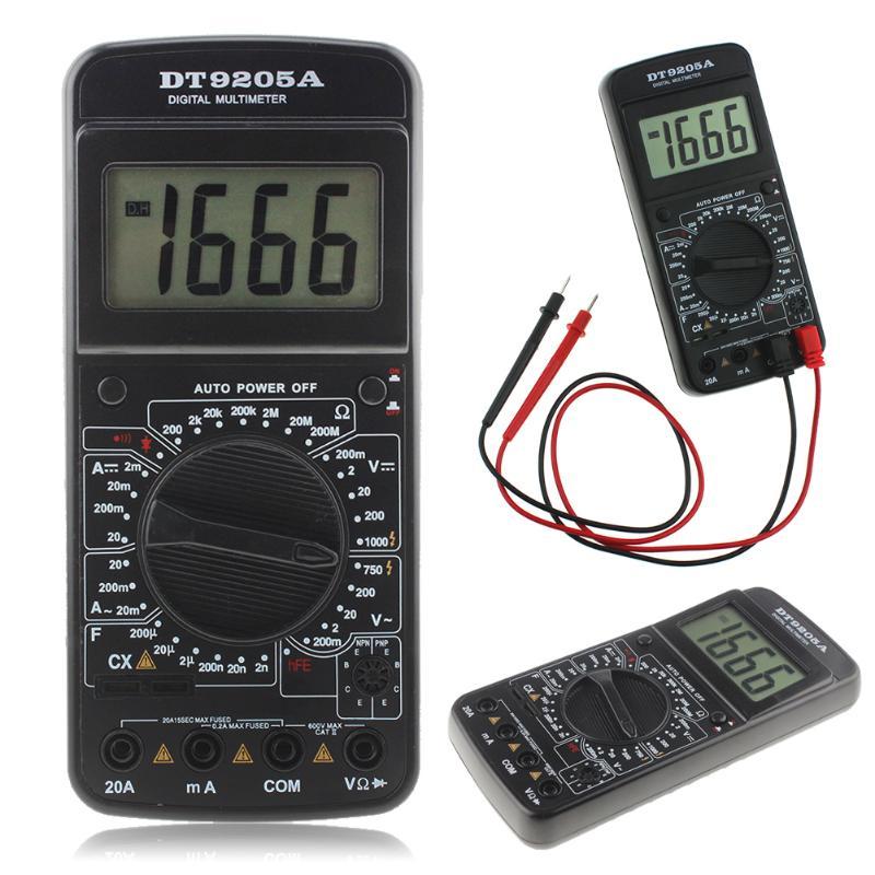 Professional DT9205A AC DC LCD Display Electric Multimeter Handheld Tester Meter Digital Multimetro Ammeter Multitester