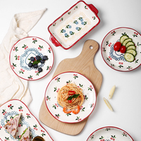 Oneisall Dinner Plates Set Porcelain Ceramics Cake Fruit Vegetable Salad Platos Dinnerware Set Dishes Supla Talheres Dish