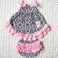 Девушка новорожденный хлопок качели наверх установить Многоцветный оборками младенческой летний стиль комплект одежды милые дети жилет + короткая 2 шт